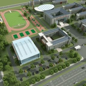 现代学校鸟瞰3D模型【ID:128411439】