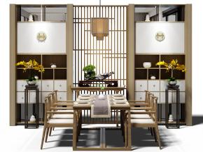 中式實木餐桌椅裝飾柜吊燈組合3D模型【ID:327783495】