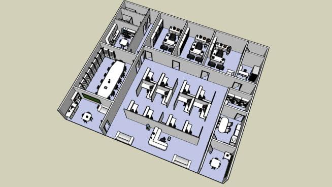 新办公室SU模型【ID:840083077】