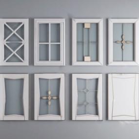 现代橱柜柜门玻璃门板组合3D模型【ID:336239137】