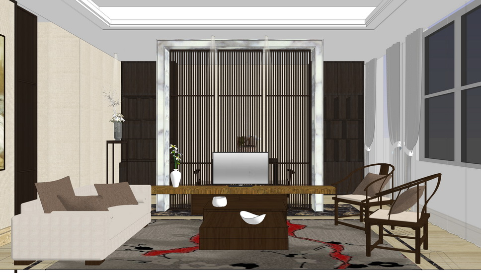 中式風格客餐廳室內設計SU模型【ID:936630887】