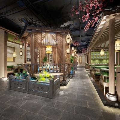 新中式餐廳3D模型【ID:328438496】