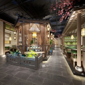 新中式餐厅3D模型【ID:328438496】