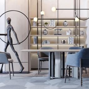 新中式书桌椅人物雕塑组合3D模型【ID:120825964】