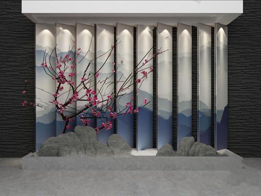 中式景观小品3D模型【ID:824885029】