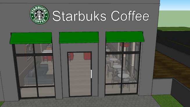 星巴克咖啡餐廳SU模型【ID:538531488】