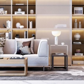 现代双人沙发书柜组合3D模型【ID:928345712】