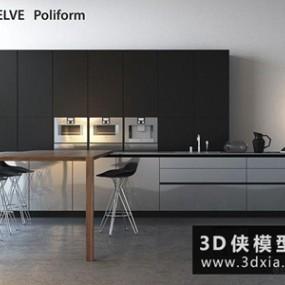 现代厨柜国外3D模型【ID:829521038】