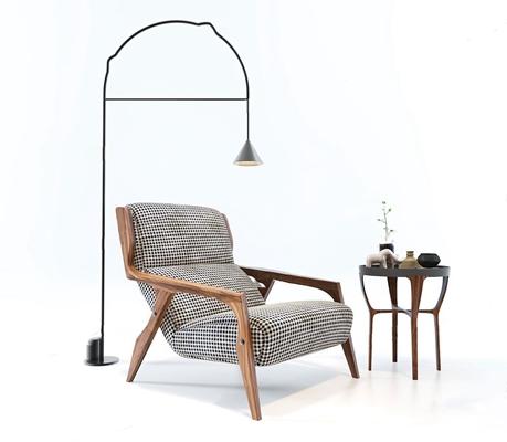 北歐休閑躺椅茶幾落地燈組合3D模型【ID:227888622】