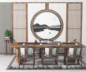 新中式泡茶桌椅角幾擺件組合3D模型【ID:327786632】