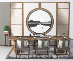 新中式泡茶桌椅角几摆件组合3D模型【ID:327786632】