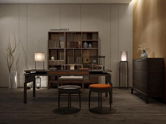 现代中式书房书桌椅子柜子组合3D模型【ID:327899774】