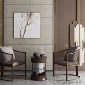 新中式椅子茶几3D模型【ID:628047079】