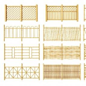 现代竹子篱笆围栏组合3D模型【ID:828474540】