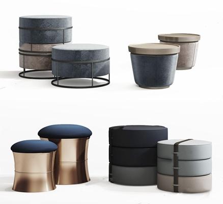 現代沙發凳組合3D模型【ID:428261309】
