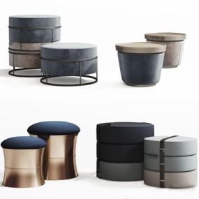 现代沙发凳组合3D模型【ID:428261309】