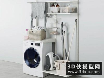洗衣机衣服模型组合国外3D模型【ID:129347788】