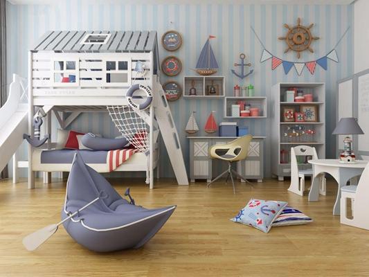 地中海儿童双层床书桌椅陈设品组合3D模型【ID:628294972】