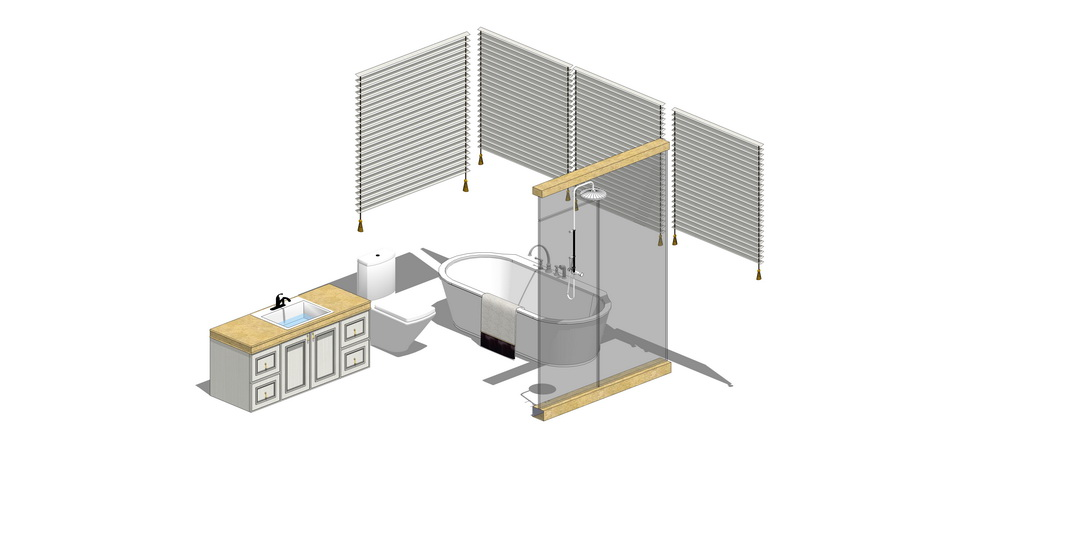 卫生间家具组合SU模型【ID:636640933】