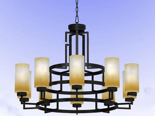 新中式吊灯3D模型【ID:220009864】