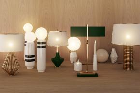 北歐金屬臺燈床頭燈組合3D模型【ID:627804172】