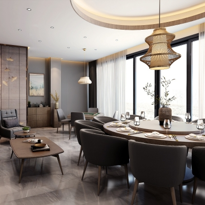 新中式餐厅包厢过道吧台3D模型【ID:728469962】