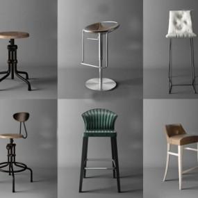 现代工业风吧椅组合3D模型【ID:327902145】