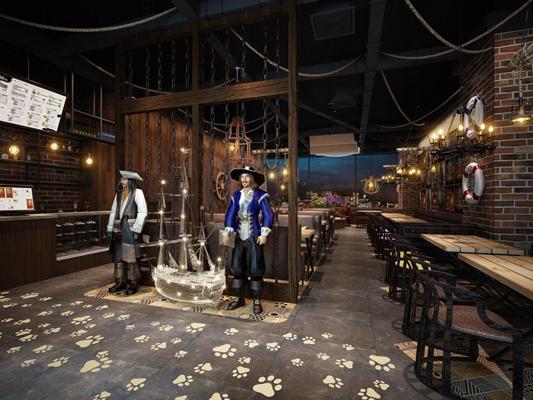 工业海盗咖啡厅3D模型【ID:127846007】