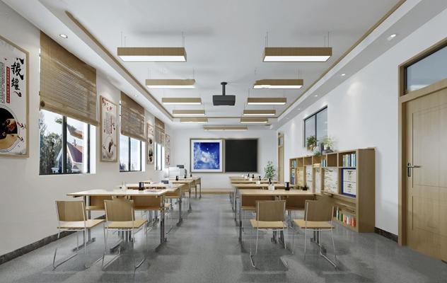 现代教室3D模型【ID:924881028】
