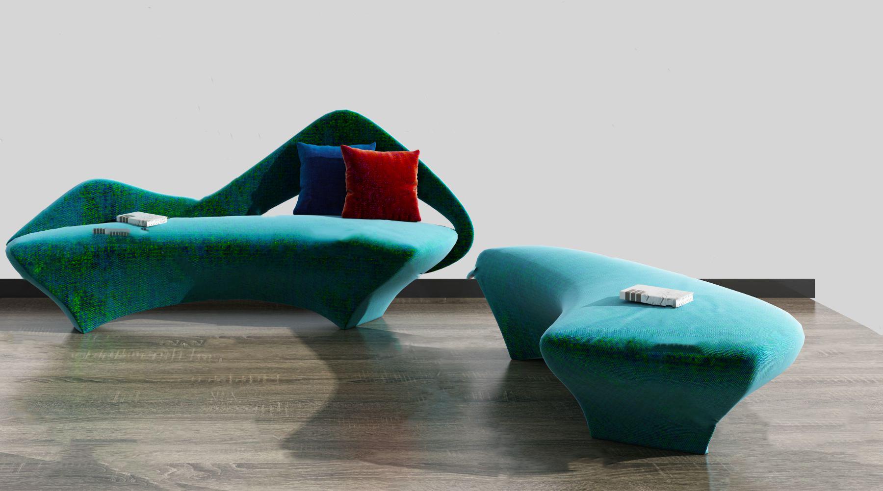 现代布艺异形沙发3D模型【ID:243349484】