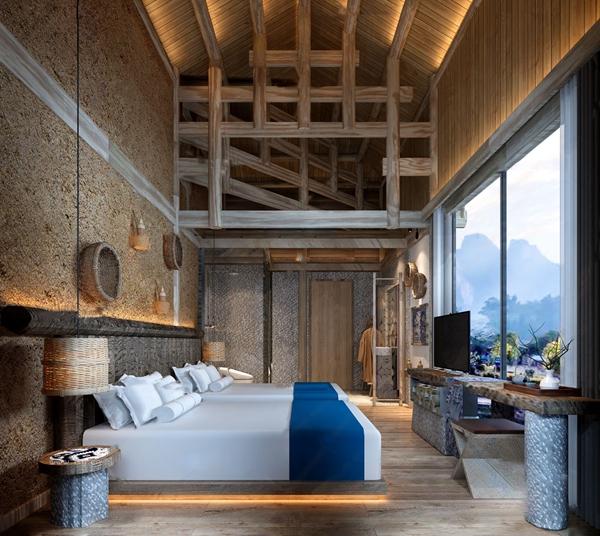 自然風民宿酒店客房雙人房3D模型【ID:745862337】