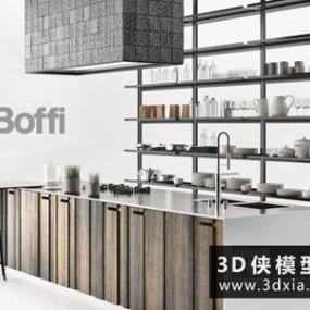现代岛柜组合国外3D模型【ID:829399021】
