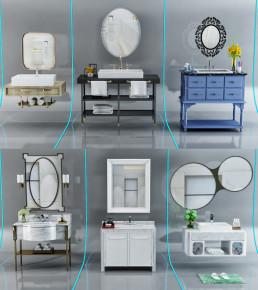 现代洗手盆台柜架摆件组合3D模型【ID:927827481】