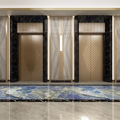 新中式酒店电梯厅走廊3D模型【ID:627806248】