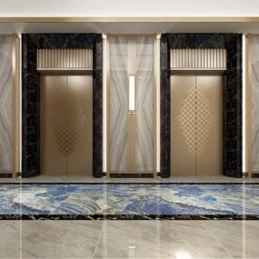 新中式酒店电梯厅走廊365彩票【ID:627806248】