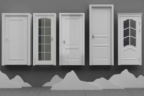 現代實木玻璃門組合3D模型【ID:727807532】