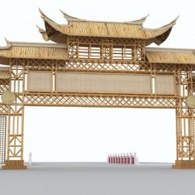 现代竹牌坊3D模型【ID:727810891】