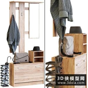 現代玄關衣服包組合國外3D模型【ID:929326616】