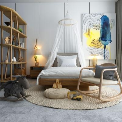 現代自然風實單人床木馬搖椅組合3D模型【ID:627806938】