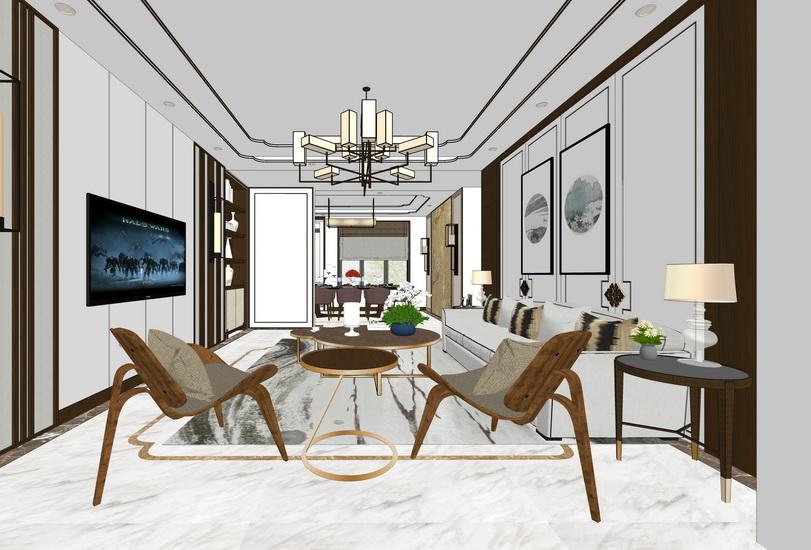 新中式客廳餐廳室內設計SU模型【ID:936657885】