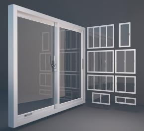 现代铝合金窗组合3D模型【ID:727809580】