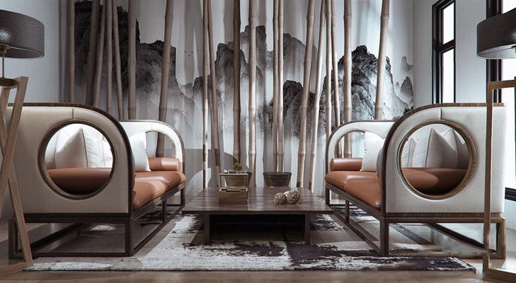 新中式沙发组合3D模型【ID:928191741】