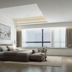 现代卧室 3D模型【ID:541546246】