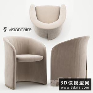 现代布艺扶手椅国外3D模型【ID:729326823】