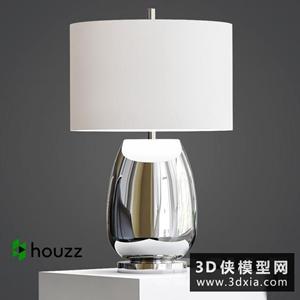 现代金属台灯国外3D模型【ID:829322919】