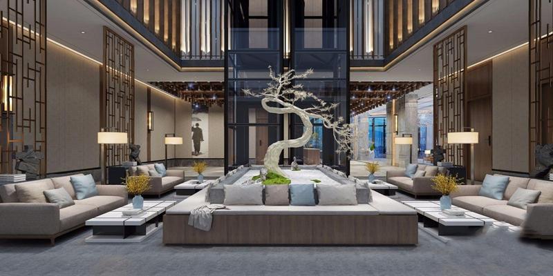 新中式酒店休息区3D模型【ID:428259202】