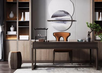 新中式書房桌椅組合3D模型【ID:320797693】