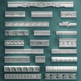 欧式石膏线组合3D模型【ID:828126423】