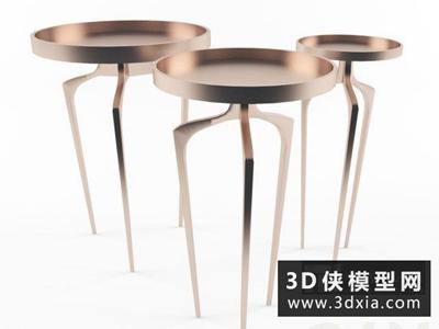 現代金屬邊幾國外3D模型【ID:829497181】