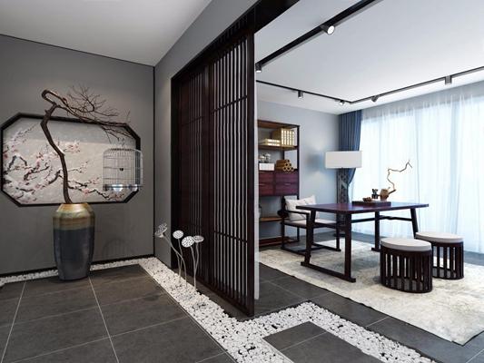 新中式茶室3D模型【ID:327916796】
